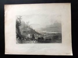 Bartlett America C184 Print. The Descent into the Valley of Wyoming Pennsylvania